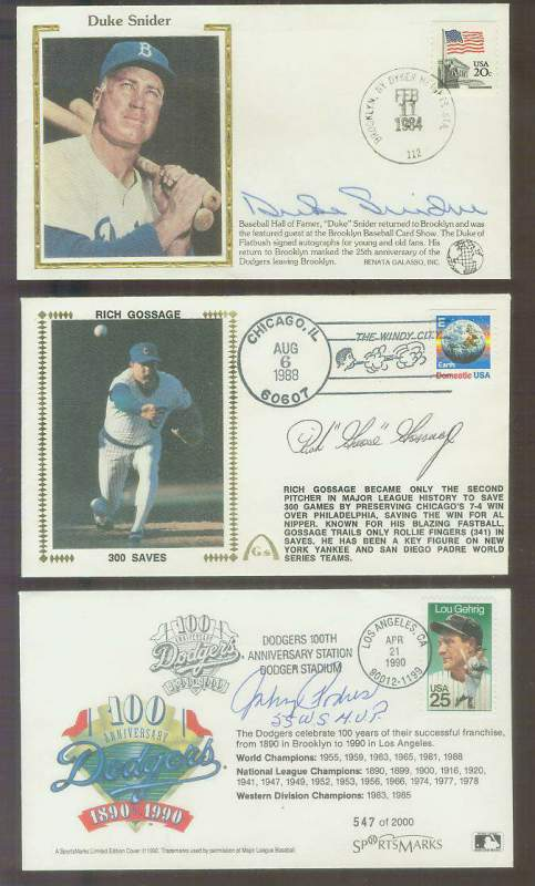 Johnny Podres - 1990 AUTOGRAPHED SportsMarks Cachet 'Dodgers 100th Anniv.' Baseball cards value