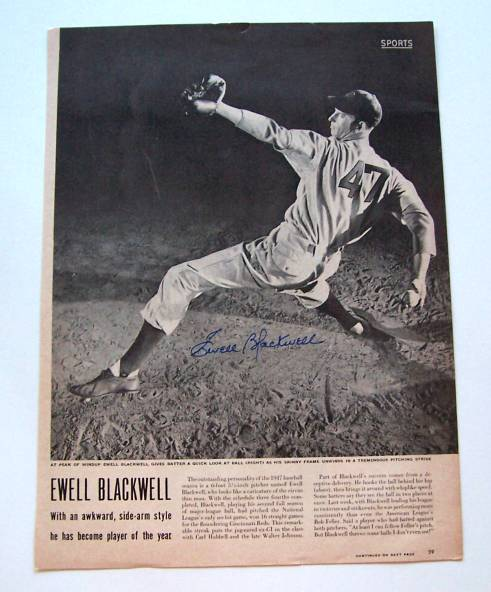 Ewell Blackwell - AUTOGRAPHED 1947 LIFE MAGAZINE page (Reds) Baseball cards value