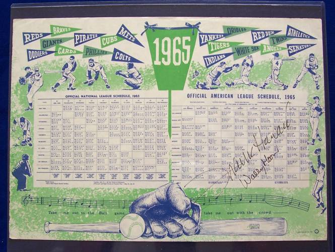 Frank Howard/Wally Post - AUTOGRAPHED 1965 Major League Schedule Place-Mat Baseball cards value