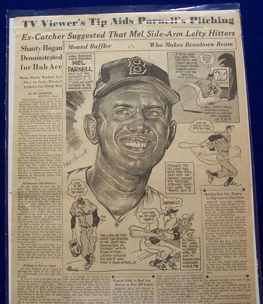 Mel Parnell - AUTOGRAPHED 1953 Sporting News Page ILLUSTRATION (Red Sox) Baseball cards value