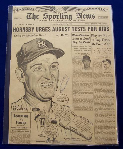 Allie Reynolds - AUTOGRAPHED 1953 Sporting News ILLUSTRATION (Yankees) Baseball cards value