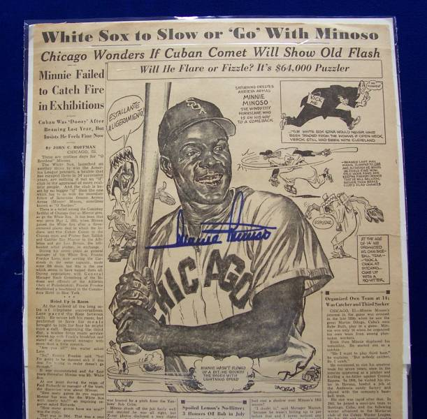 Minnie Minoso - AUTOGRAPHED 1956 Sporting News ILLUSTRATION (White Sox) Baseball cards value