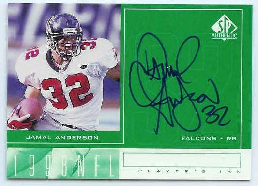 Jamal Anderson - 1998 SP Authentic 'Player's Ink' AUTOGRAPH (Falcons) Football cards value
