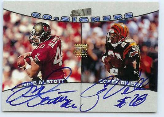 Corey Dillon/Mike Alstott - 1998 Stadium Club CO-SIGNERS DOUBLE AUTOGRAPH Football cards value