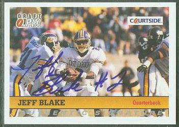 Jeff Blake - 1992 Courtside #105 AUTOGRAPHED insert Football cards value