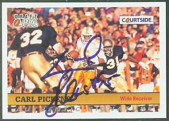 Carl Pickens - 1992 Courtside #29 AUTOGRAPHED insert (Tennessee) Football cards value
