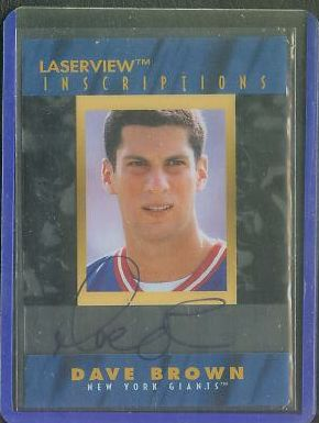 Dave Brown - 1996 Lazer View 'Inscriptions' AUTOGRAPH (NY Giants) Football cards value