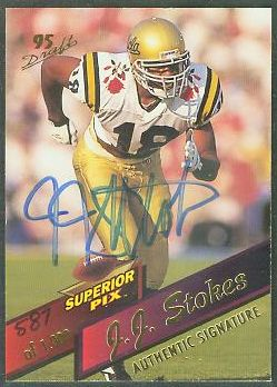 J.J. Stokes - 1995 Superior Pix #75 AUTOGRAPHED insert Football cards value