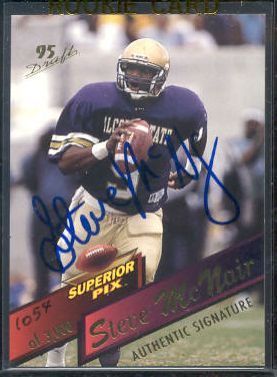 Steve McNair - 1995 Superior Pix #3 AUTOGRAPHED insert Football cards value