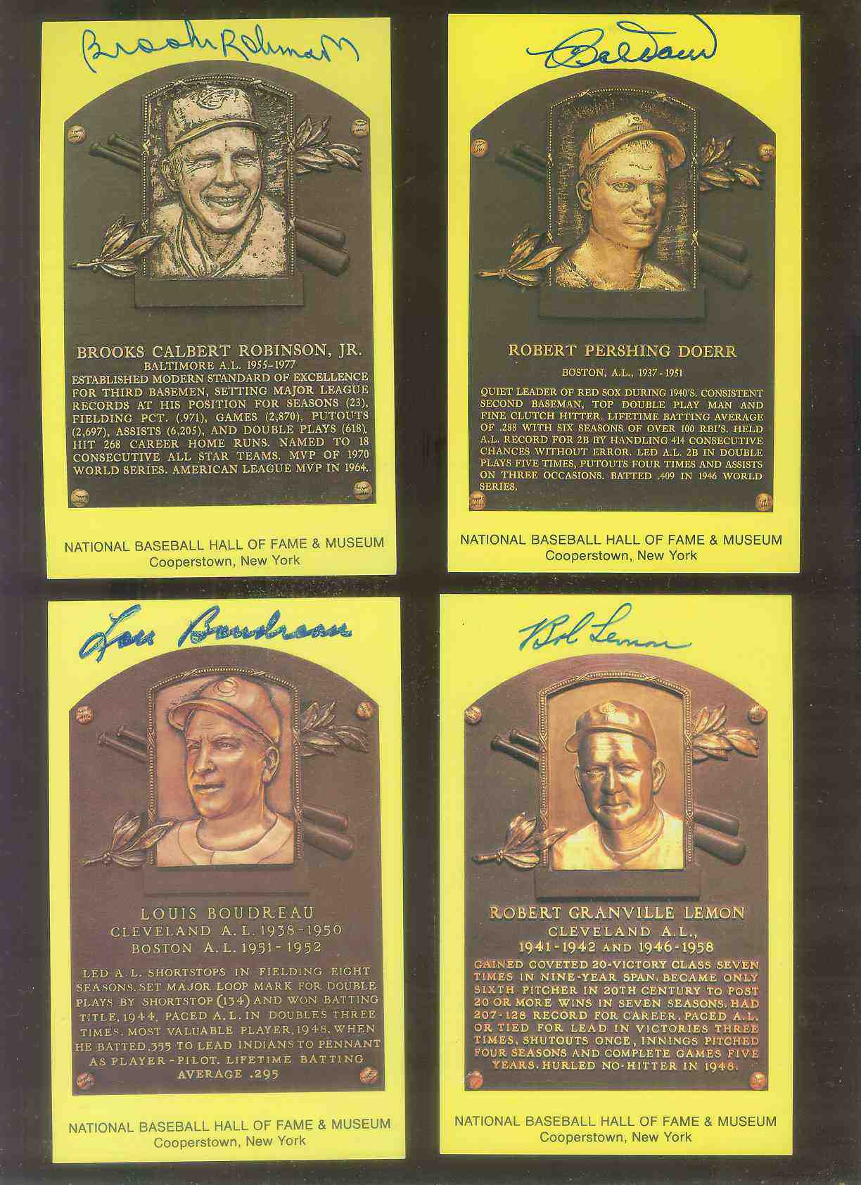 Bob Lemon - AUTOGRAPHED (LOA) Hall-of-Fame Gold Plaque Postcard Baseball cards value