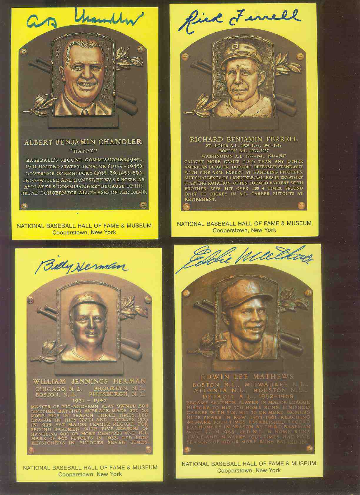 Eddie Mathews - AUTOGRAPHED (LOA) Hall-of-Fame Gold Plaque Postcard Baseball cards value