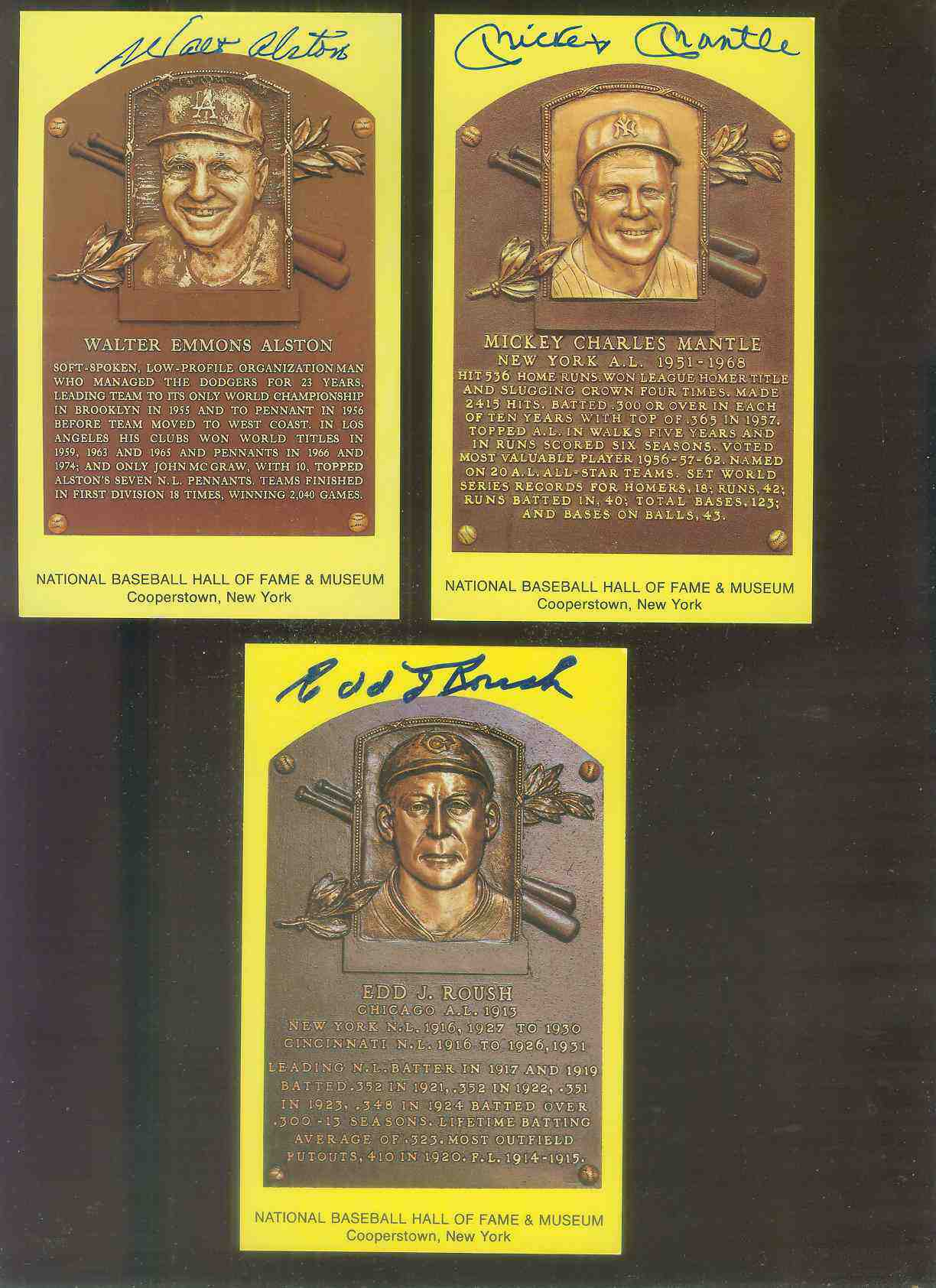 Mickey Mantle - AUTOGRAPHED (LOA) Hall-of-Fame Gold Plaque Postcard Baseball cards value