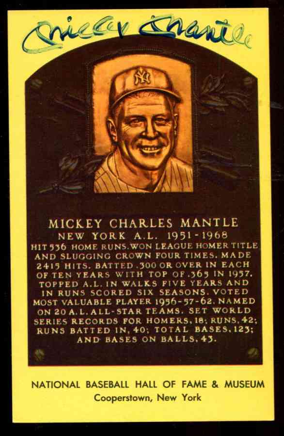 Mickey Mantle - AUTOGRAPHED (LOA) SMUDGED Hall-Fame Gold Plaque Postcard Baseball cards value
