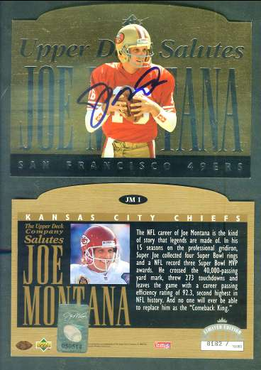 Joe Montana - AUTOGRAPHED 'Upper Deck Salutes' UDA Commemorative card Football cards value
