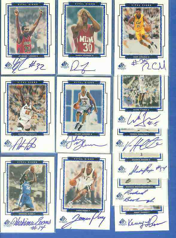 1999 SP Top Prospects 'Vital Signs AUTOGRAPH' #KT Kenny Thomas Basketball cards value