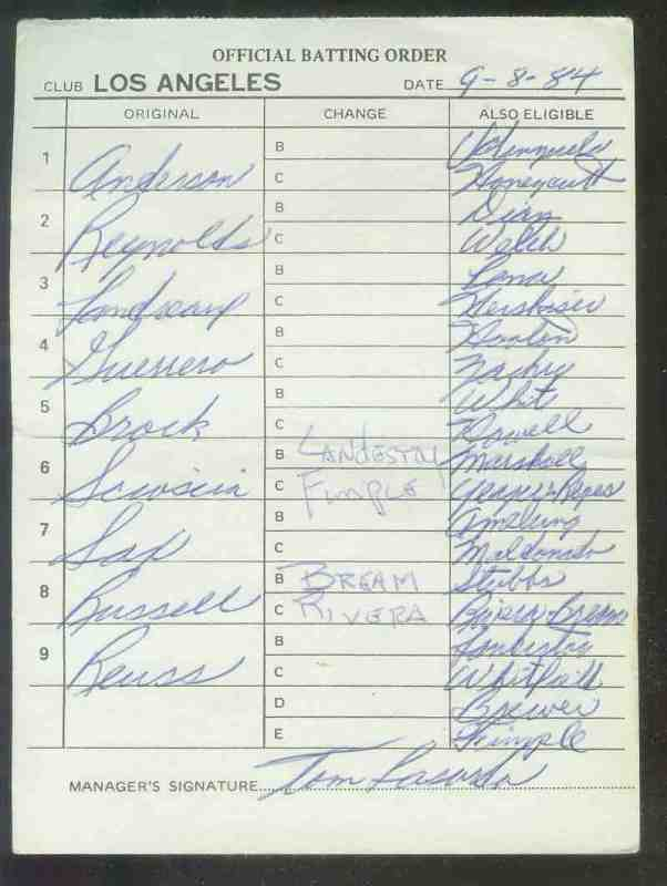 Dodgers - 1984 (09/08) Authentic LINEUP CARD - Autographed TOM LASORDA Baseball cards value