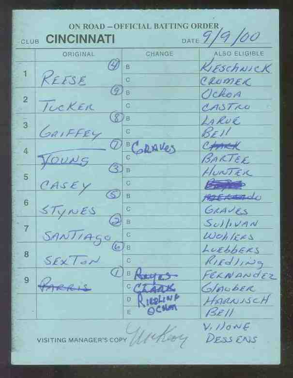 Reds - 2000 (09/09) Authentic LINEUP CARD - Autographed by JACK McKEON Baseball cards value