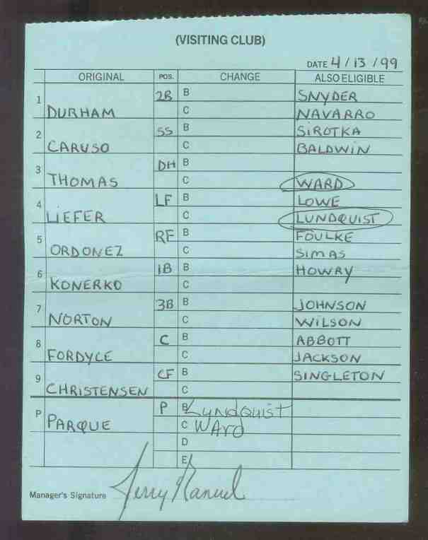 White Sox - 1999 (04/13) Authentic LINEUP CARD - Signed by JERRY MANUEL Baseball cards value