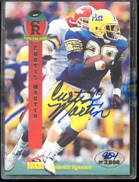 Curtis Martin - 1995 Signature Rookies Prime #27 AUTOGRAPHED insert Football cards value