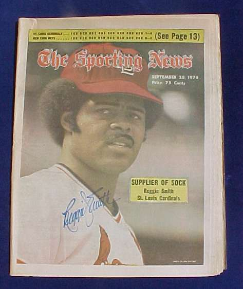 Reggie Smith - AUTOGRAPHED SPORTING NEWS (Sept. 28,1974) (Cardinals) Baseball cards value