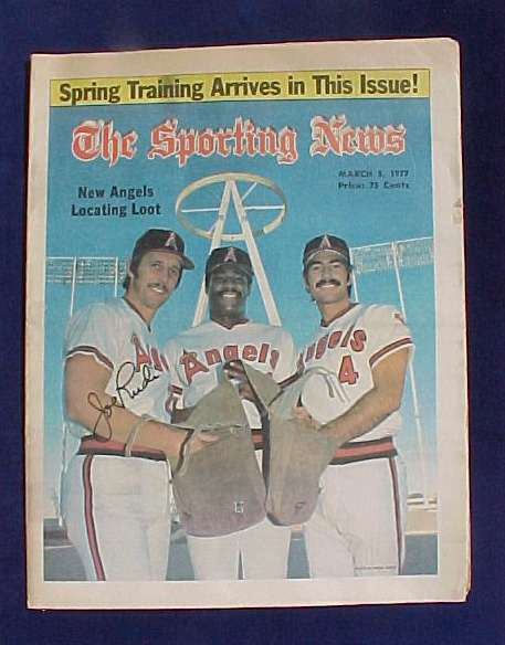 Joe Rudi - AUTOGRAPHED SPORTING NEWS (March 5,1977) (Angles) Baseball cards value