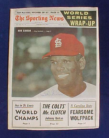 Bob Gibson - AUTOGRAPHED SPORTING NEWS (Oct. 28,1967) (Cardinals) Baseball cards value