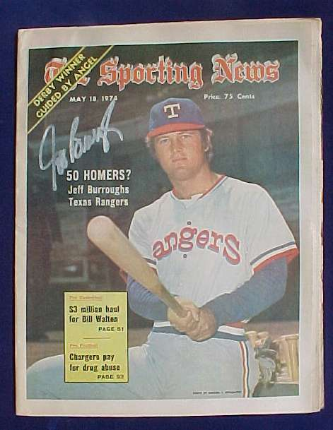 Jeff Burroughs - AUTOGRAPHED SPORTING NEWS (May 18, 1974) (Rangers) Baseball cards value