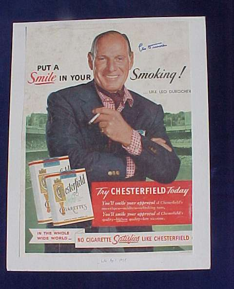 Leo Durocher - AUTOGRAPHED 1955 LIFE Chesterfield Cigarette Ad Baseball cards value