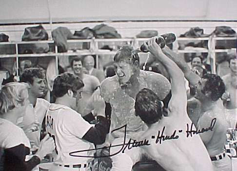 Frank Howard - Autographed Clubhouse Celebration Photo Baseball cards value