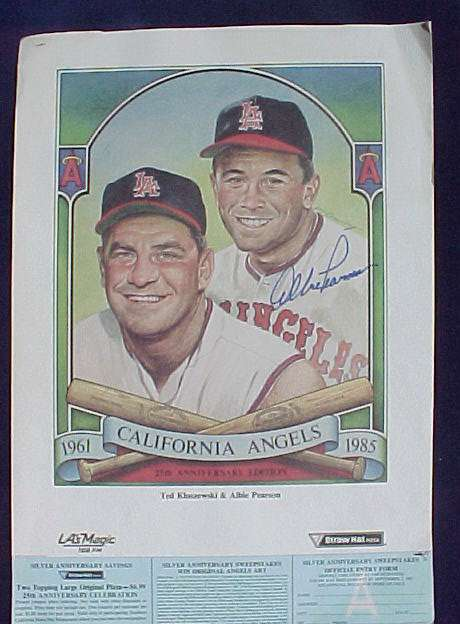 Albie Pearson - AUTOGRAPHED 1985 16x11 Angels Promotional Sheet Baseball cards value