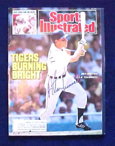 Alan Trammell - AUTOGRAPHED 1987 SPORTS ILLUSTRATED (Tigers) Baseball cards value