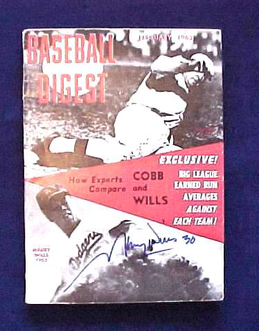 Maury Wills - AUTOGRAPHED 1963 Baseball Digest (Dodgers) Baseball cards value