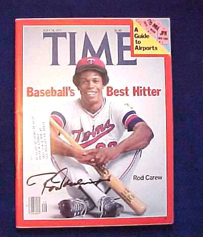 Rod Carew - AUTOGRAPHED 1977 TIME Magazine (Twins) Baseball cards value