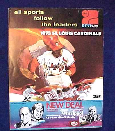 Lou Brock - AUTOGRAPHED 1975 Cardinals Line-Up card Baseball cards value