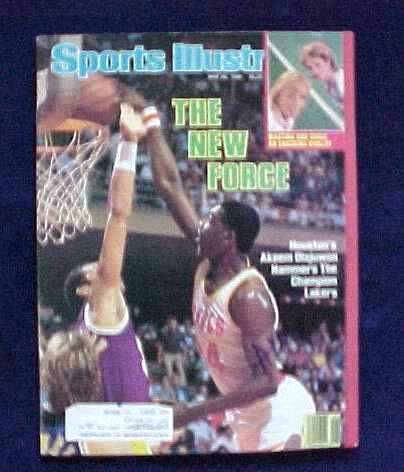 Akeem Olajuwon - AUTOGRAPHED 1986 Sports Illistrated (Rockets) Basketball cards value
