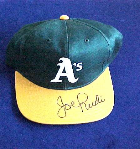 Joe Rudi - AUTOGRAPHED Baseball Cap (A's) Baseball cards value