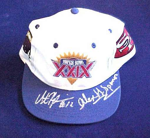 Alex Spanos/Stan Humphries - AUTOGRAPHED Super Bowl XXIX Baseball Cap Football cards value