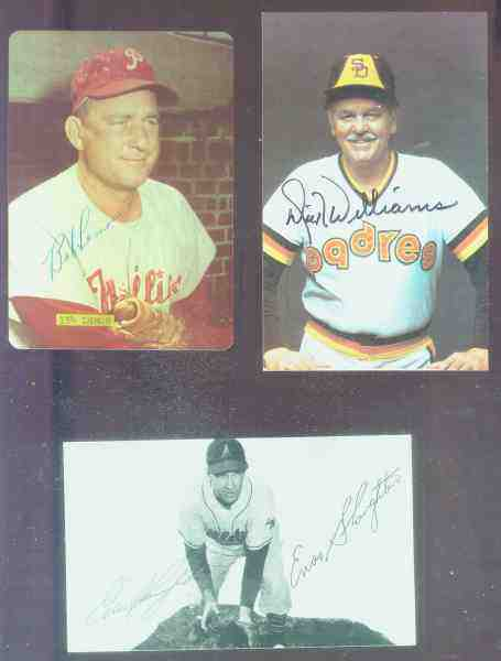 Enos Slaughter - AUTOGRAPHED Postcard (Phila. A's) Baseball cards value