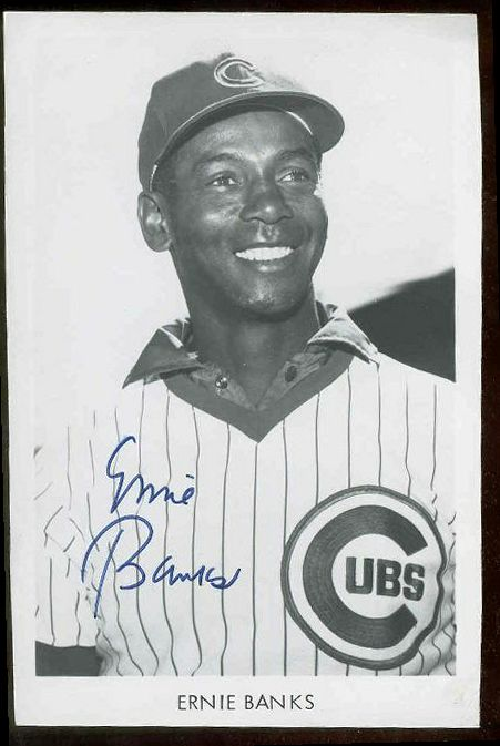 Ernie Banks - AUTOGRAPHED B&W Team issued Postcard (Cubs) Baseball cards value