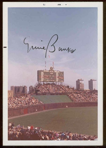 Ernie Banks - AUTOGRAPHED 1973 color Photo of Wrigley Field (Cubs) Baseball cards value