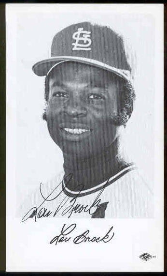 Lou Brock - AUTOGRAPHED Team-Issued Postcard (Cardinals) Baseball cards value