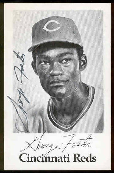 George Foster - AUTOGRAPHED Team-Issued B&W Postcard (Reds) Baseball cards value