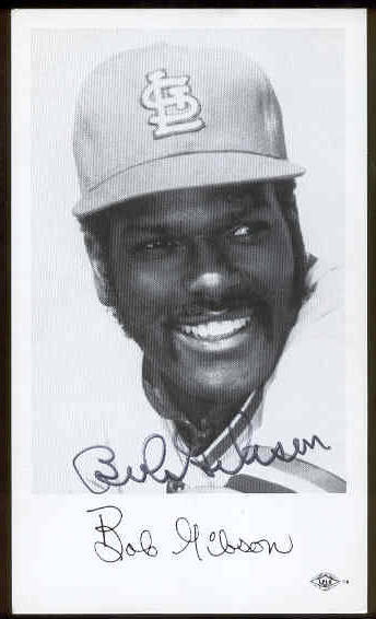 Bob Gibson - AUTOGRAPHED Team-Issued Postcard (Cardinals) Baseball cards value