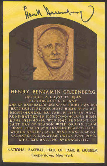 Hank Greenberg - AUTOGRAPHED (LOA) Hall-Fame Gold Plaque Postcard (on back Baseball cards value