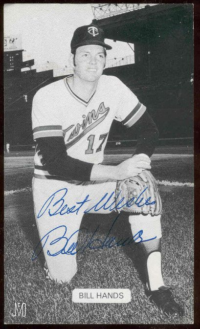 Bill Hands - AUTOGRAPHED J.D. McCarthy Postcard (Twins) Baseball cards value
