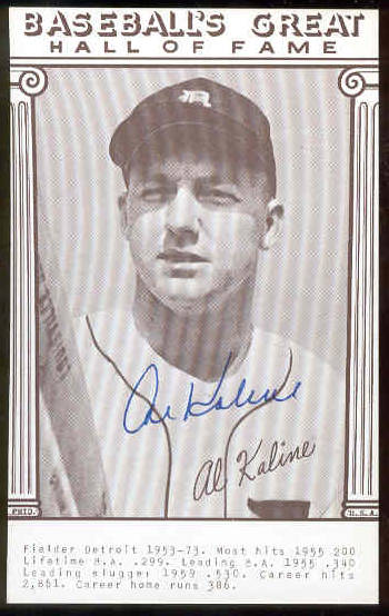 Al Kaline - AUTOGRAPHED 'Baseball's Great' Exhibit Card (Tigers) Baseball cards value