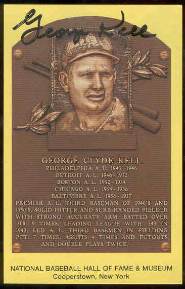 George Kell - AUTOGRAPHED (LOA) Hall-of-Fame Gold Plaque Postcard (Tigers) Baseball cards value