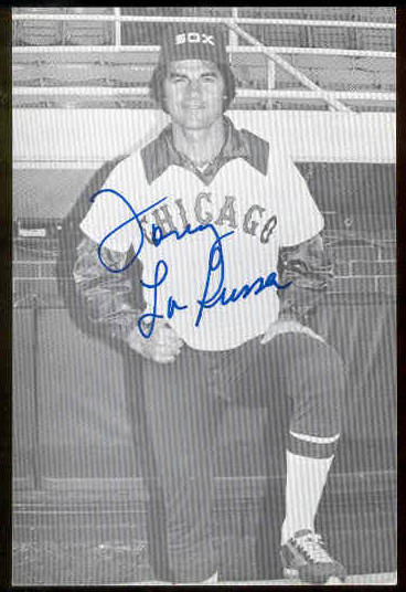 Tony LaRussa - AUTOGRAPHED Team-Issued Postcard (White Sox) Baseball cards value