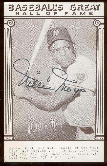 Willie Mays - AUTOGRAPHED 'Baseball's Great Hall of Fame' Postcard (Giants Baseball cards value