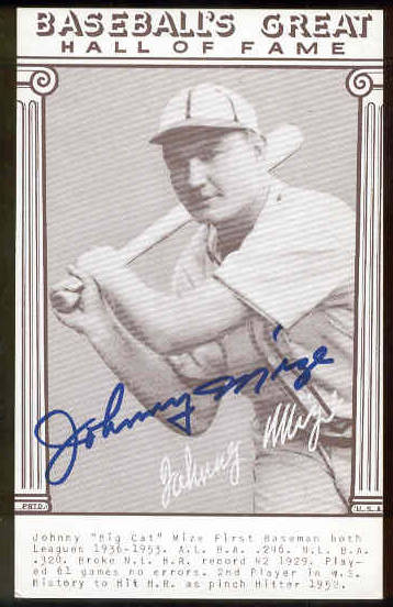 Johnny Mize - AUTOGRAPHED 'Baseball's Great' Exhibit Card (Giants) Baseball cards value